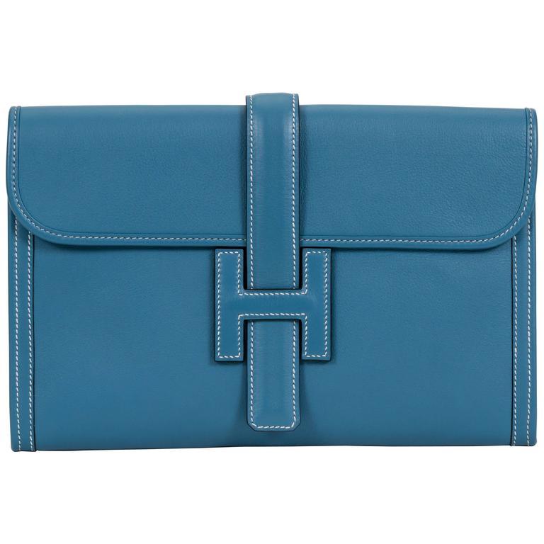 Hermès Blue Jean Swift Jige Clutch Bag