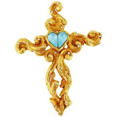 Christian Lacroix Vintage Jewelled Baroque Cross Brooch Pendant