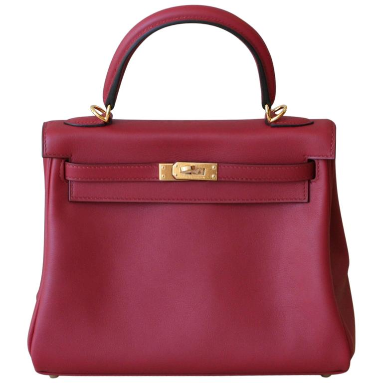 HERMES Kelly Rouge Grenat swift 25' 1