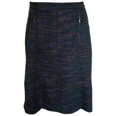 Chanel Lesage Skirt Black & Multicolor Cotton Blend Tweed 02A Collection Sz 40