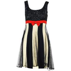 Vintage Moschino Couture Black Cream Red Metallic Stripe SL Layered Dress SZ 8