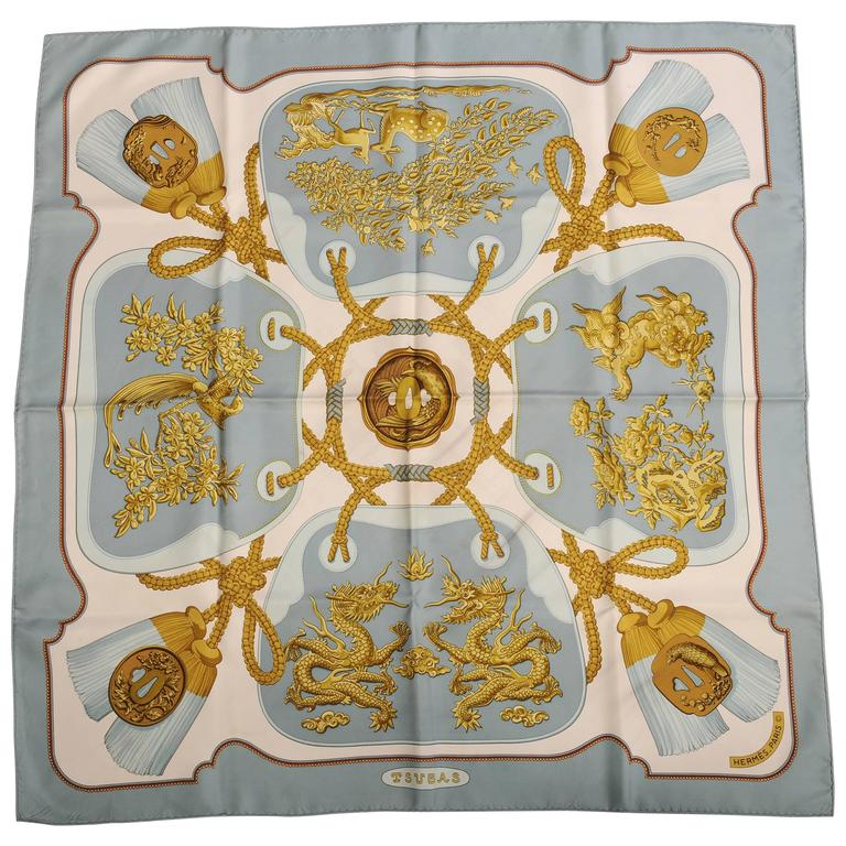 Tsubas 1980's Hermes Silk Scarf Designed by Christiane Vauzelles 1