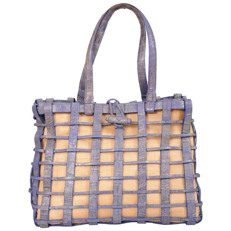 Nancy Gonzalez Blue Woven Crocodile and Natural Straw Bag For Sale