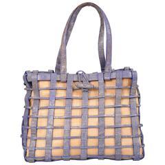 Nancy Gonzalez Blue Woven Crocodile and Natural Straw Bag