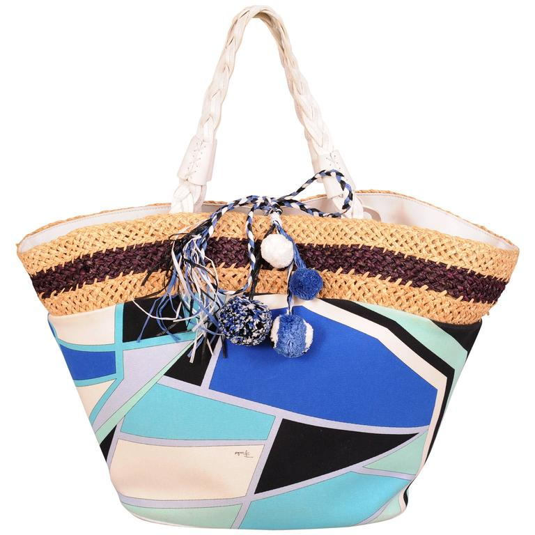 Pucci Colorful Leather, Straw and Linen Tote or Beach Bag 1