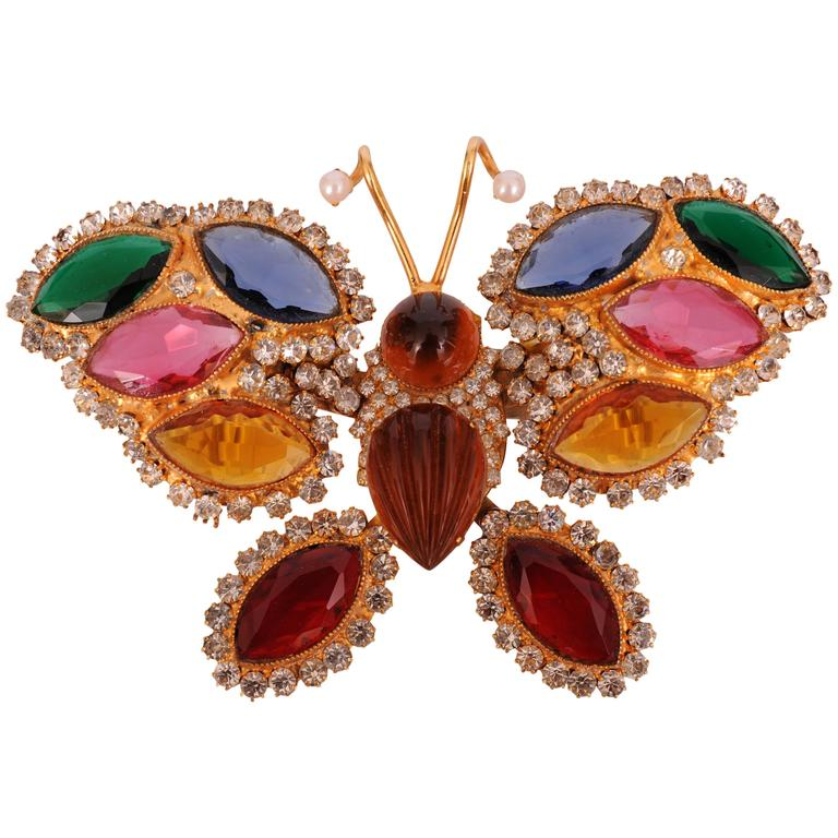 William De Lillo Large Colorful Jeweled Butterfly Pin 1