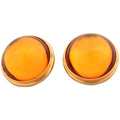 Lalique Gold Crystal Cabochon Earrings