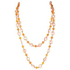 William De Lillo Pink and Gold Bead Chain Necklace