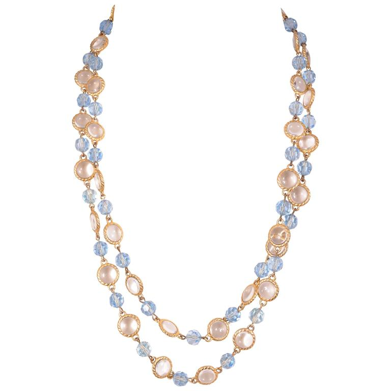 william de lillo blue and clear bead chain necklace at 1stdibs