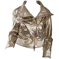 Vintage Gianfranco Ferre Gold Leather Distressed Motorcycle Moto 90s Jacket