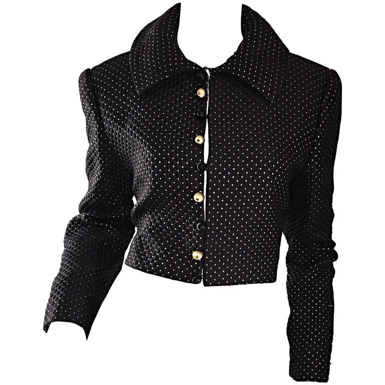 Carolyne Roehm for Saks 5th Avenue 1990s Black + Gold Silk Cropped Bolero Jacket For Sale