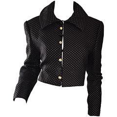 Carolyne Roehm for Saks 5th Avenue 1990s Black + Gold Silk Cropped Bolero Jacket
