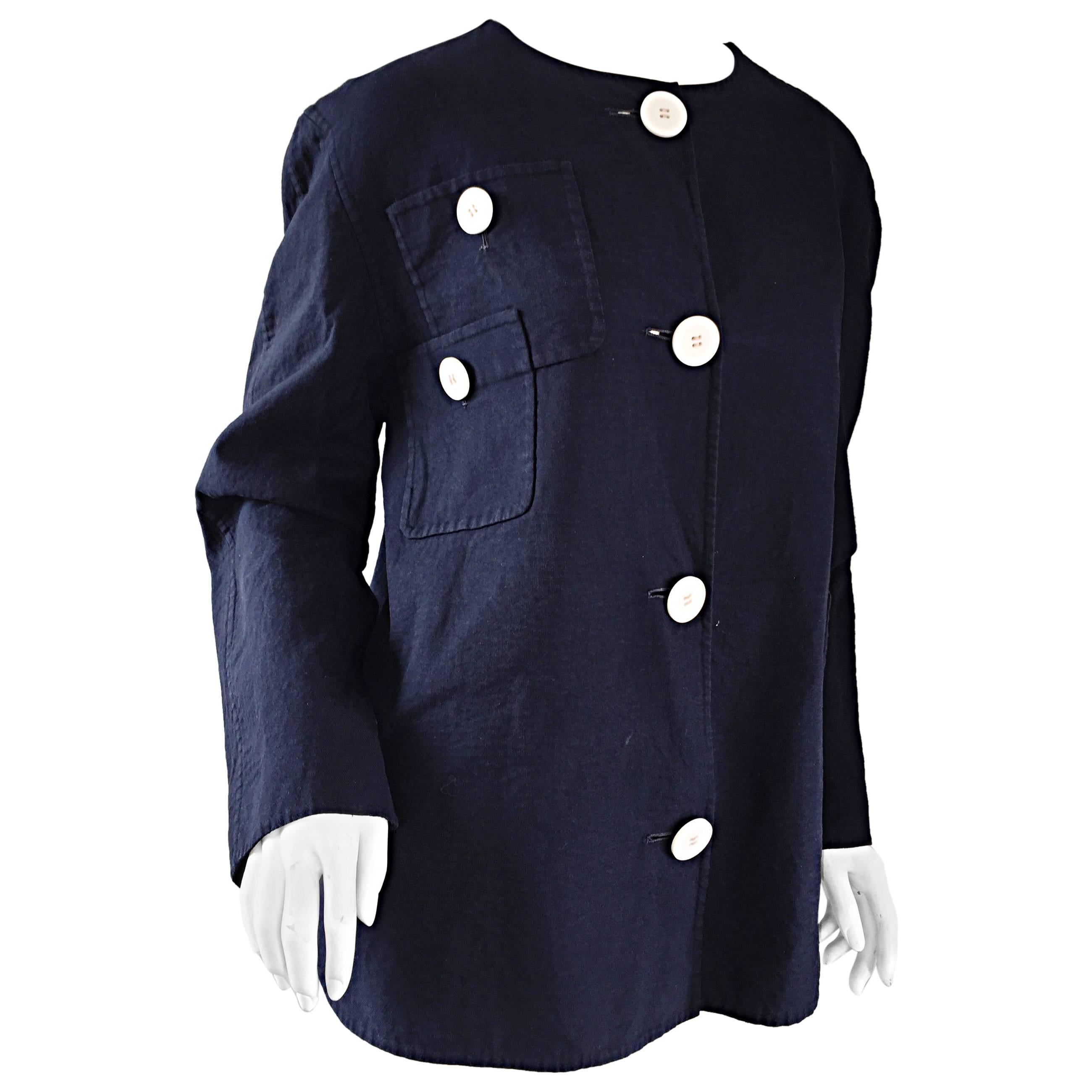 683a49c8da 1960s Bill Blass for Bergdorf Goodman Navy Blue + White Nautical Swing  Jacket For Sale at 1stdibs