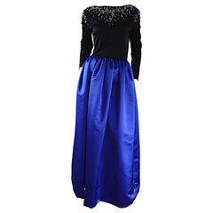 Beautiful Vintage Victoria Royal Sapphire Blue + Black Beaded Silk Evening Gown
