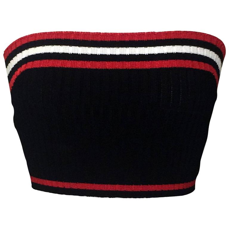 Prada Rib Knit Sporty Red White and Blue Cropped Tube Top 1