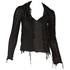 Black Chanel Knit Zip-Front Cardigan