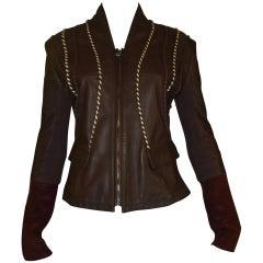 Roberto Cavalli Class Chocolate Brown Leather Jacket