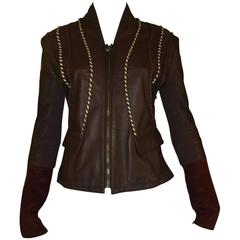Roberto Cavalli Class Chocolate Brown Leather Jacket