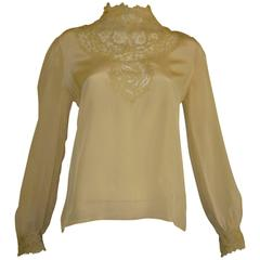 Vintage Silk and Lace High Collar Blouse