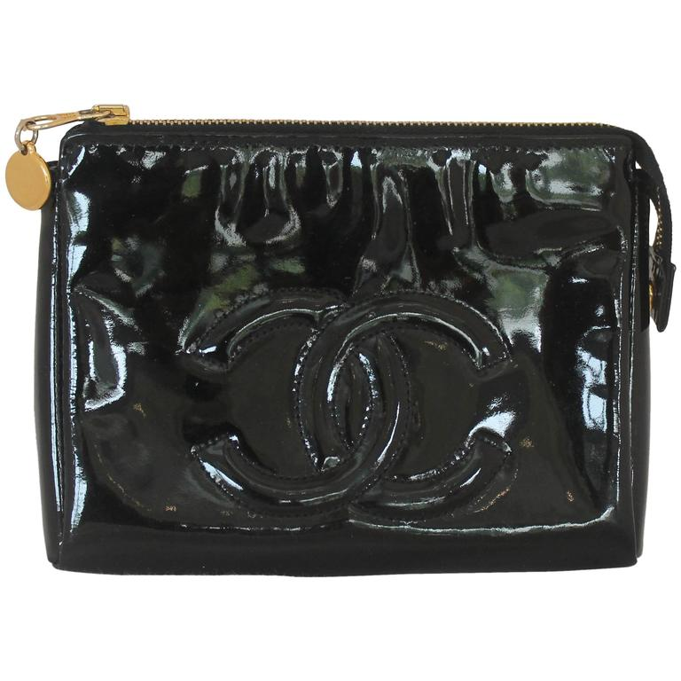 Chanel Black Patent Leather Makeup Case - GHW - Circa 1997 1