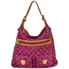 Vuitton Pink Denim Monogram Shoulder Bag