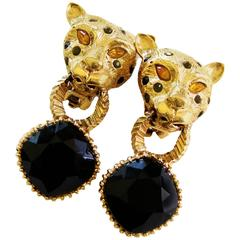 Spotted Leopard Head Earrings with Indigo Blue Crystal Clip Style Graziano 90s