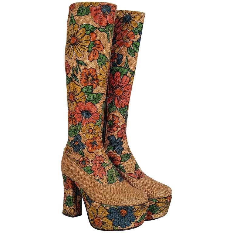 1970's Colorful Floral-Garden Print Barkcloth Knee-High Platform Hippie Boots 1
