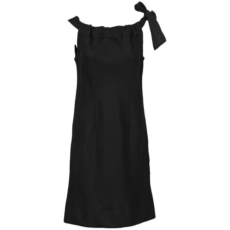1960's Holt Renfrew Black Linen Dress For Sale