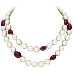 1960's Anonymous Faux Pearl & Red Poured Glass Necklace