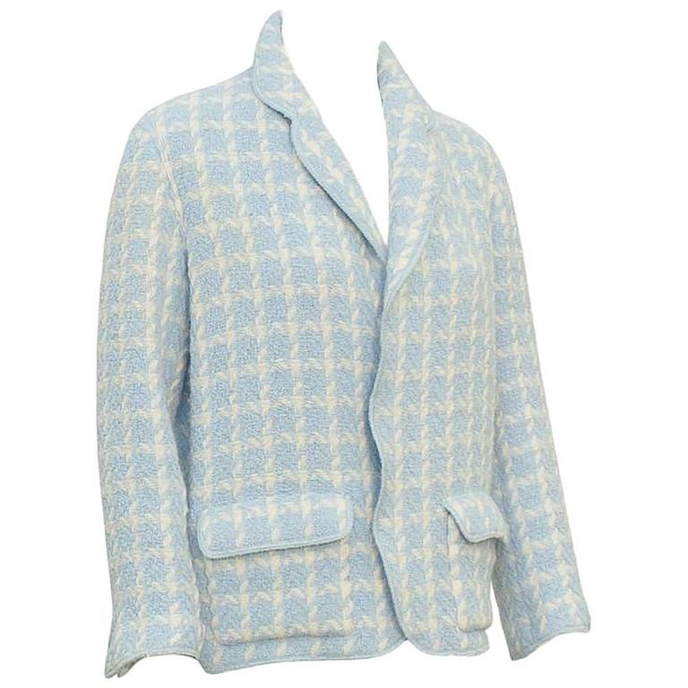 1996 Chanel Baby Blue Houndstooth Jacket  For Sale