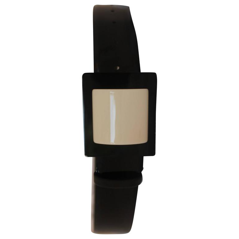 Chanel Black Patent and Ivory Colored Square Buckle Belt - 36 - 2007 A For Sale