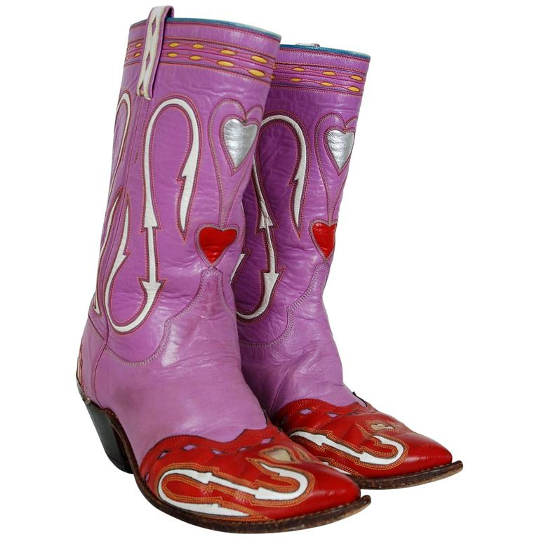 1950's Rare Nudie's Rodeo Tailor Novelty Hearts Purple Red Leather Cowboy Boots For Sale