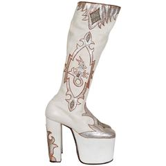 1970's White Leather & Silver Glitter Novelty Capricorn Platform Glam-Rock Boots