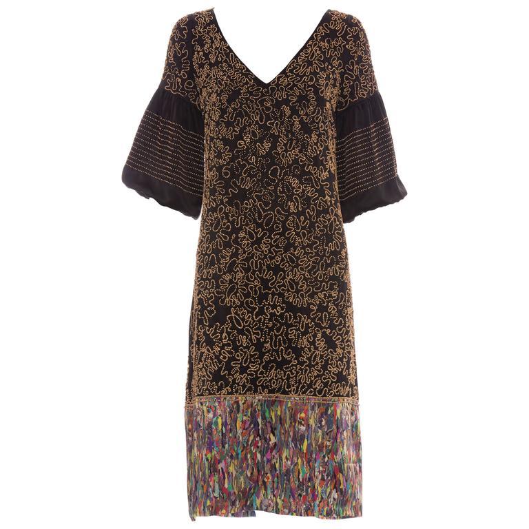 Dries Van Noten Silk Wood Bead Embellished Dress, Autumn - Winter 2008
