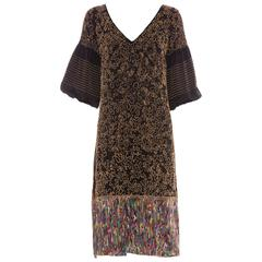 Dries Van Noten Silk Wood Bead Embellished Dress, Autumn - Winter 2008