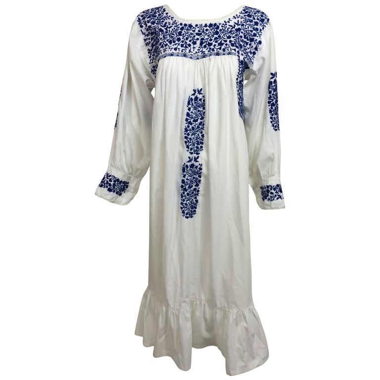 White Mexican Embroidered Wedding Dress: 1960s Blue And White Embroidered Oaxacan Mexican Wedding