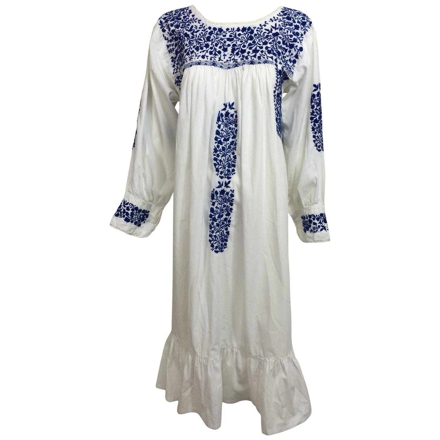1960s blue and white embroidered Oaxacan Mexican wedding dress ...