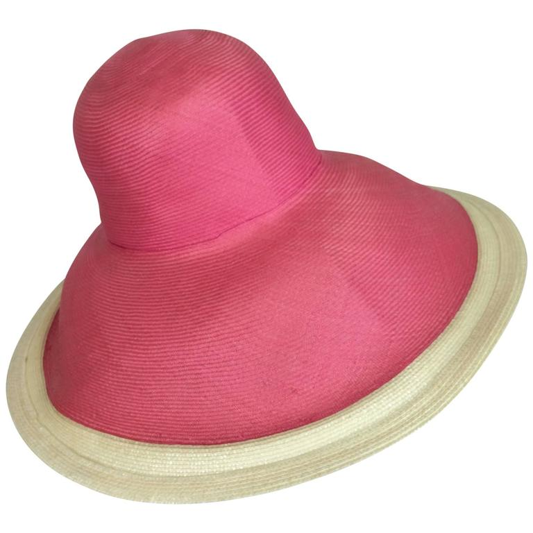 Eric Javits pink & natural fine straw wide brim hat For Sale