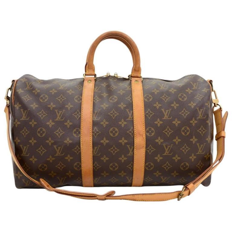 Vintage Louis Vuitton Keepall 45 Bandouliere Monogram Canvas Duffle Travel Bag 1
