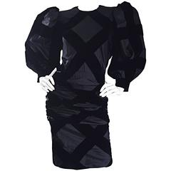 Vintage Givenchy Haute Couture Numbered Black Silk Avant Garde 1980s 80s Dress