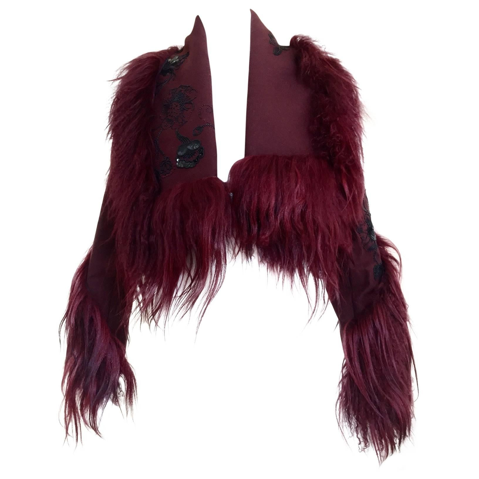 Christian Dior by John Galliano burgundy wool crop jacket