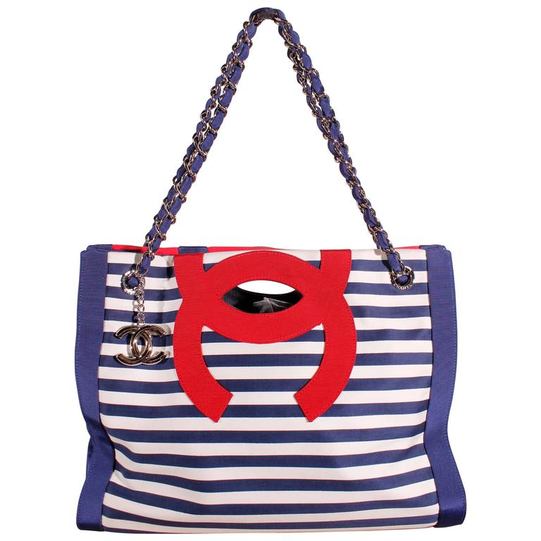 bfbb1978baa1 Chanel Tote Bag Cruise Collection 2010 - striped red/white/blue For Sale