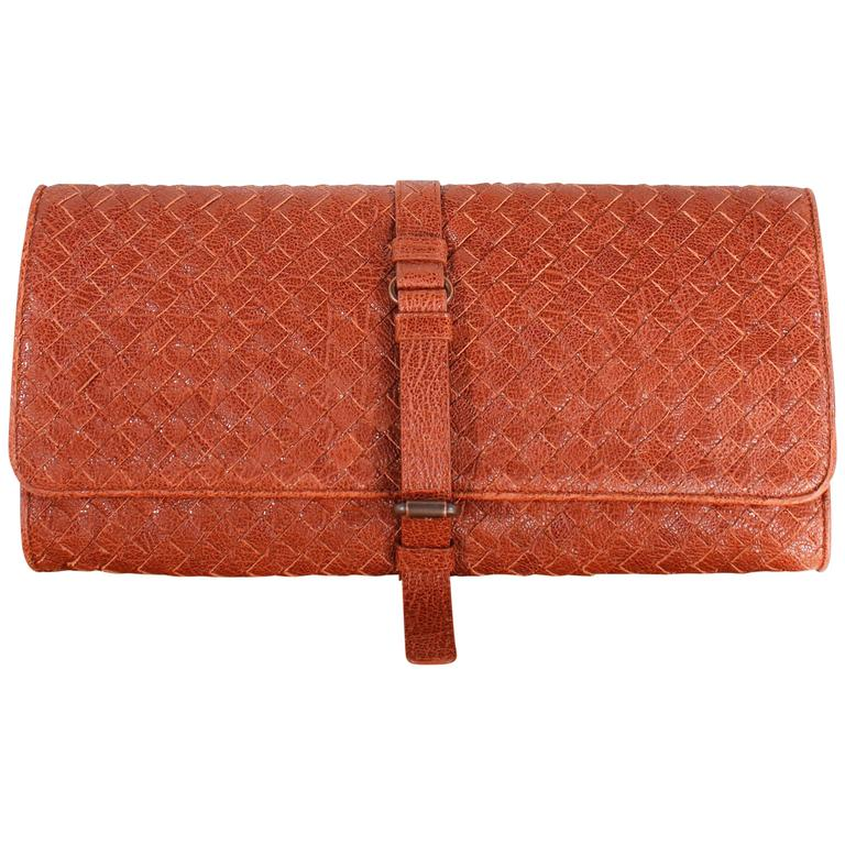Bottega Veneta clutch - brown braided leather