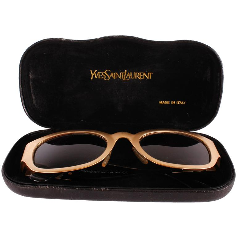 1990s Yves Saint Laurent Sunglasses - gold For Sale