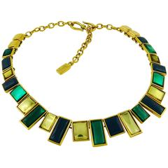 Yves Saint Laurent YSL Vintage Art Deco Inspired Geometric Necklace