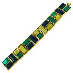 Yves Saint Laurent YSL Vintage Art Deco Inspired Geometric Bracelet