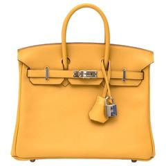 Brand New Hermes Birkin 25 Curry Veau Swift PHW