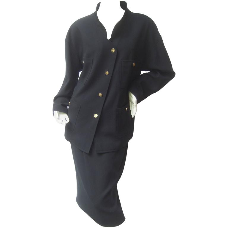 Chanel Classic Black Wool Military Style Skirt Suit ca 1990s
