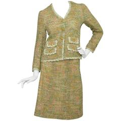 1960s Chanel Haute Couture Green & Pink Skirt Suit