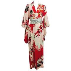 Pre WWII red and pink silk crepe Japanese Kimono 1930s